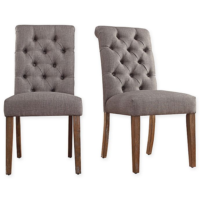 Alternate image 1 for iNSPIRE Q® Radcliffe Button-Tufted Dining Chairs in Grey (Set of 2)
