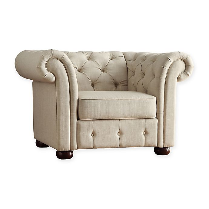 Alternate image 1 for iNSPIRE Q® Nottingham Chesterfield Arm Chair in Beige