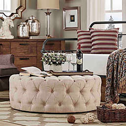 iNSPIRE Q® Nottingham Chesterfield Button-Tufted Round Ottoman