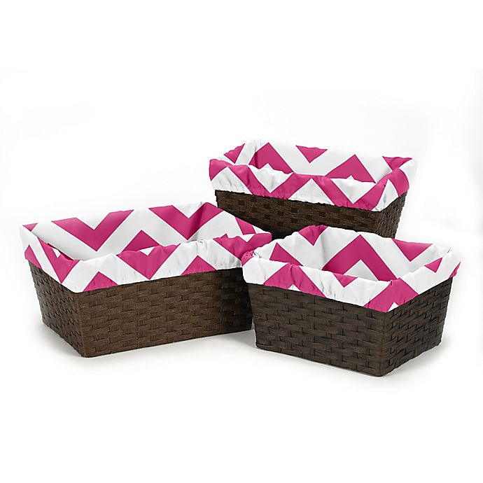 Alternate image 1 for Sweet Jojo Designs Chevron Basket Liners in Pink/White