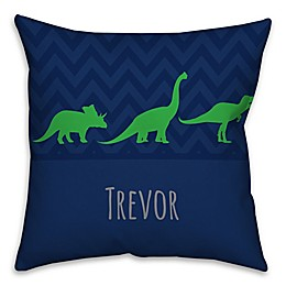 Chevron Dinosaur Square Throw Pillow in Blue and Green