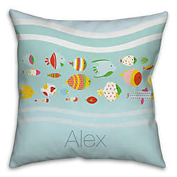 Sea of Fish Square Throw Pillow in Blue and Green