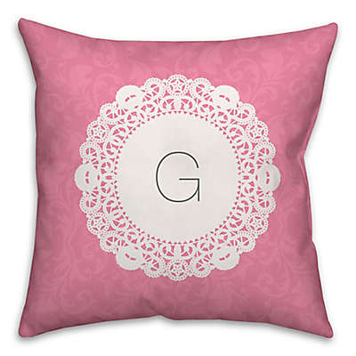 Doily Square Throw Pillow in Pink and White