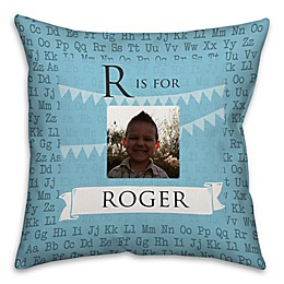 Alphabet Square Throw Pillow in Turquoise Blue