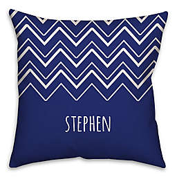 Chevron Square Throw Pillow in Blue/White
