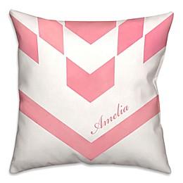 Herringbone Square Throw Pillow in Pink/White