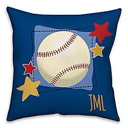 Baseball and Stars Square Throw Pillow in Blue