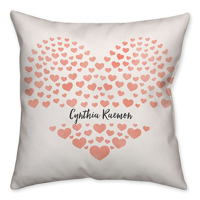 Alternate image 1 for Hearts Square Throw Pillow in Watercolor Pink
