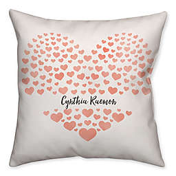 Hearts Square Throw Pillow in Watercolor Pink