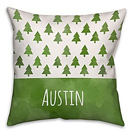 Trees Square Throw Pillow in Green/White