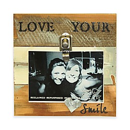 Sweet Bird & Co. Love Your Smile Wood 8-Inch Square Reclaimed Wood Clip Frame