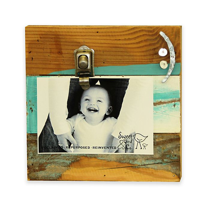 Alternate image 1 for Sweet Bird Smiley Face 8-Inch Square Reclaimed Wood Clip Frame