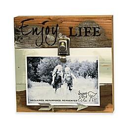 "Sweet Bird & Co. 4-Inch x 6-Inch ""Enjoy Life"" Clip Reclaimed Wood Wall Art"