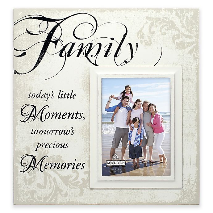 Alternate image 1 for Malden® Family Moments 5-Inch x 7-Inch Wooden Photo Frame in Cream