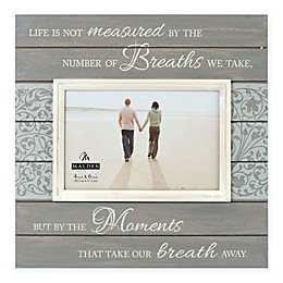 Malden® 4-Inch x 6-Inch Moments Wooden Photo Frame in Grey