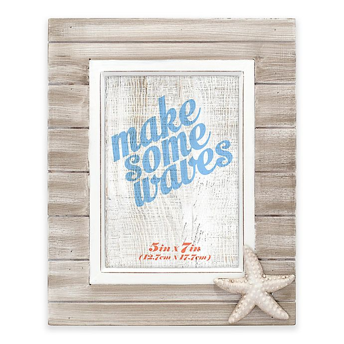 Alternate image 1 for Malden® Rustic Starfish 5-Inch x 7-Inch Wooden Picture Frame