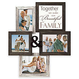 "Malden® ""Family"" 4-Photo Collage Picture Frame in Distressed Brown/White"