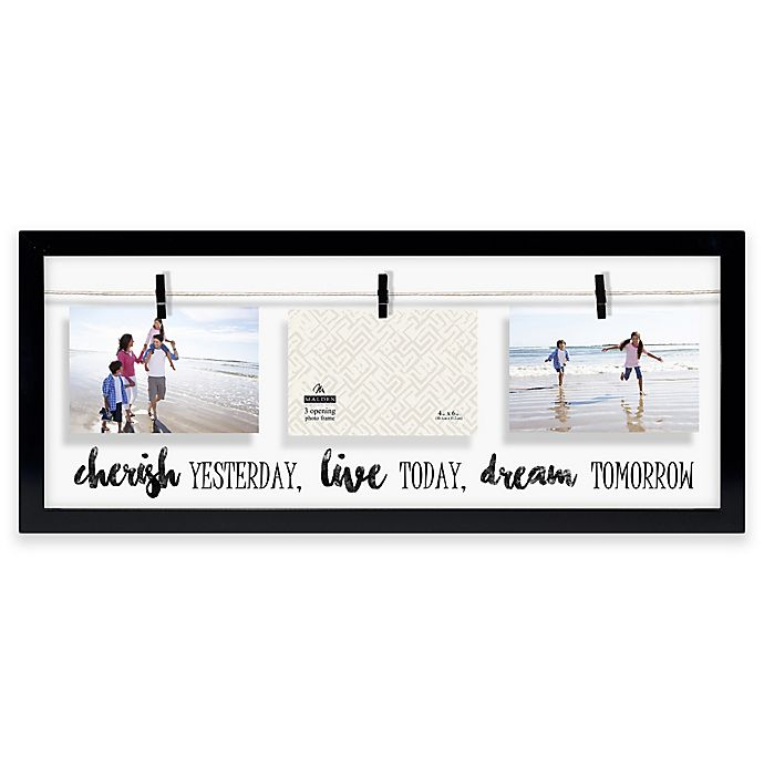 "Alternate image 1 for Malden® ""Cherish, Live, Dream"" 3-Photo Collage Picture Frame in Black"