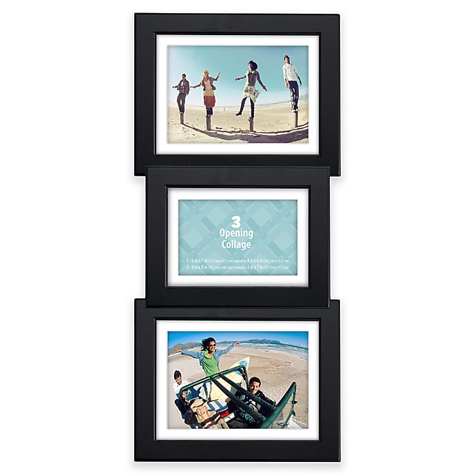 Alternate image 1 for Malden® 3-Opening Collage Picture Frame in Black