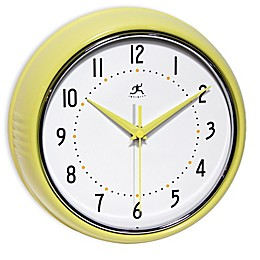 Infinity Instruments 9.5-Inch Retro Wall Clock in Yellow