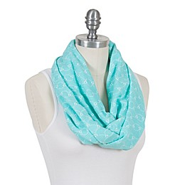 100% Cotton Muslin Nursing Scarf in Teal/White