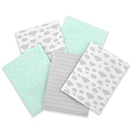 Gerber® 5-Pack of Flannel Receiving Blankets in Green