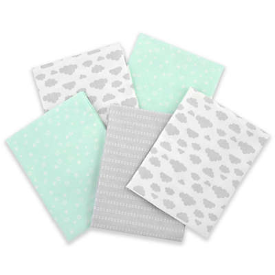 Gerber® 5-Pack of Flannel Receiving Blankets in Green