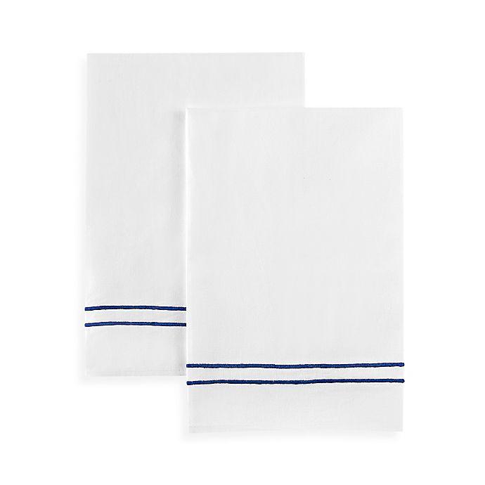 Alternate image 1 for Boutross Handmade Royal Stripes Hand Towel in White/Blue (Set of 2)