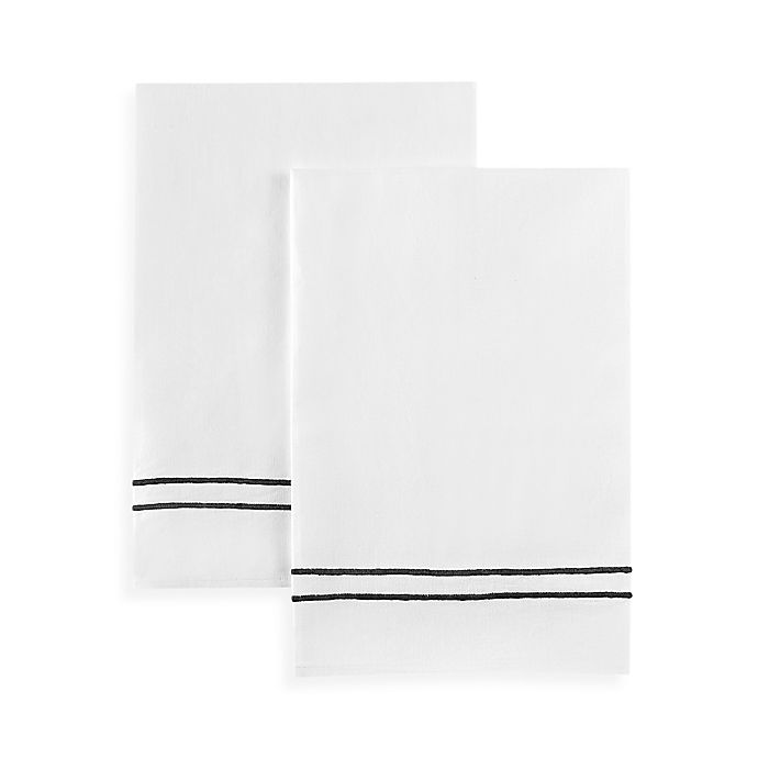 Alternate image 1 for Boutross Handmade Navy Stripes Hand Towel in White/Blue (Set of 2)