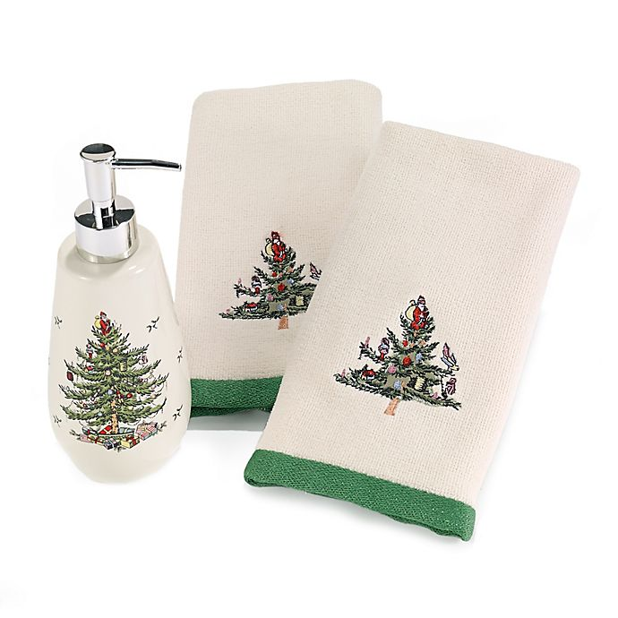 Alternate image 1 for Avanti Spode Holiday Tree Lotion Pump and Fingertip Towel Set