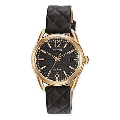 Citizen Eco-Drive Ladies' 34mm LTR Watch in Rose Gold Tone Stainless Steel with Black Leather Strap