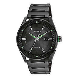 Citizen Eco-Drive Men's 42mm Drive CTO Watch in Black Ion Plated Stainless Steel with Green Accents