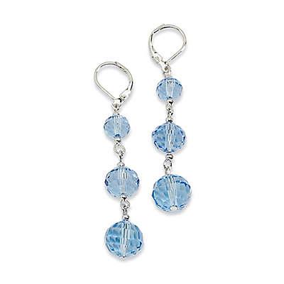 1928® Jewelry Silvertone Blue Glass Beaded Leverback Drop Earrings