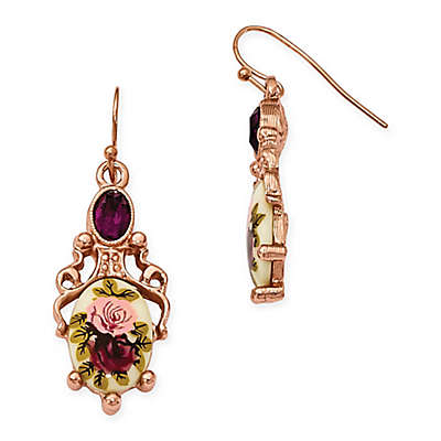 1928® Jewelry Rose Goldtone Crystal-Accented Floral Dangle Earrings