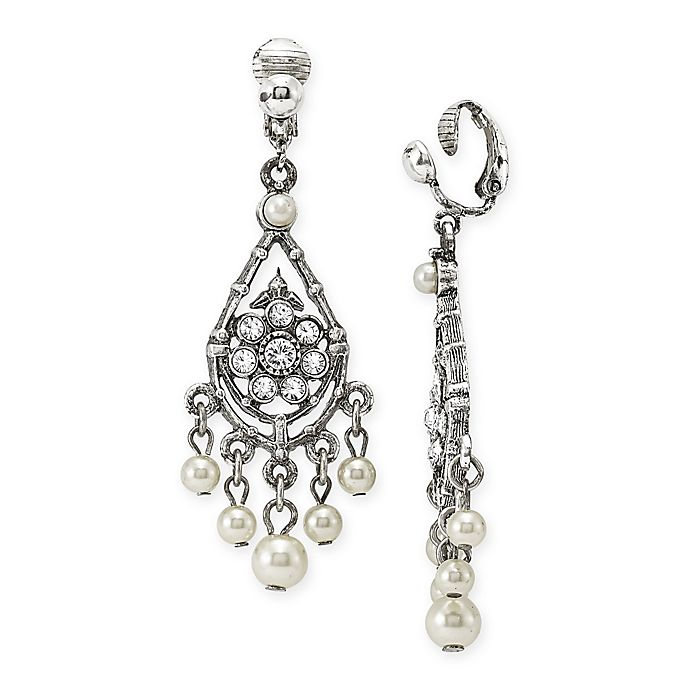 Alternate image 1 for 1928® Jewelry Silvertone Simulated Pearl and Crystal-Accented Chandelier Clip-On Earrings