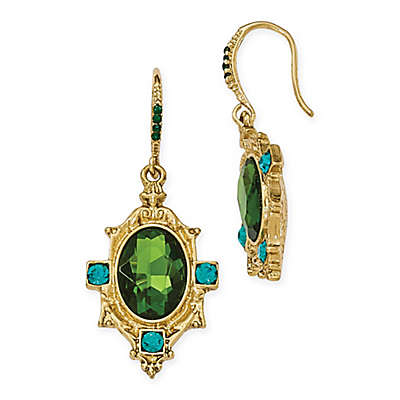 1928® Jewelry Goldtone Blue and Green Crystal Textured Dangle Earrings