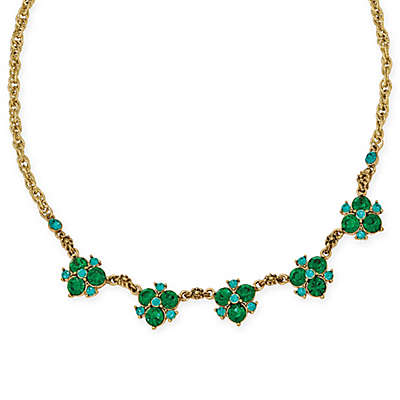 1928® Jewelry Goldtone Blue and Green Crystal Cluster 16-Inch Necklace