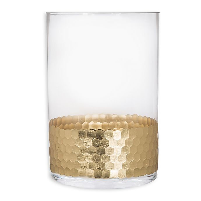 Alternate image 1 for Home Essentials & Beyond Etched Honeycomb Candle Holder in Gold