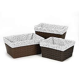 Sweet Jojo Designs Pink and Grey Kenya 3-Piece Basket Liner Set