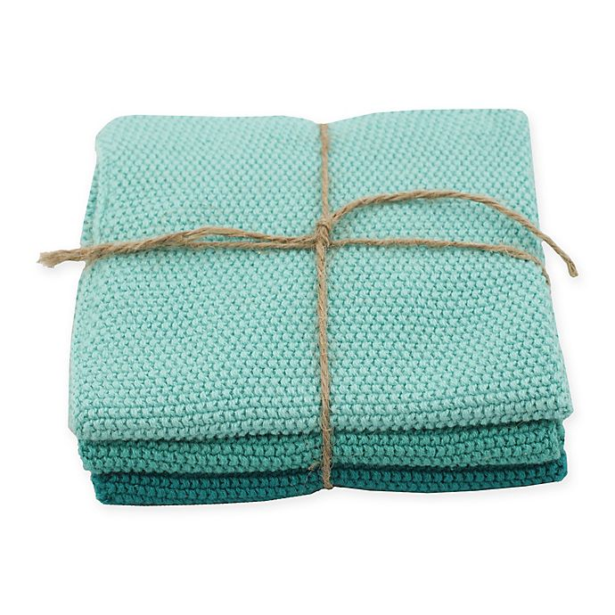 Alternate image 1 for Marine Knitted Dish Cloths in Blue (Set of 3)