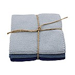 Skyknitted Dish Cloths in Blue (Set of 3)