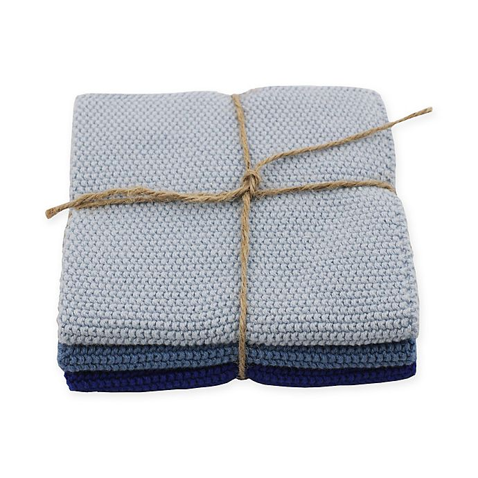 Alternate image 1 for Skyknitted Dish Cloths in Blue (Set of 3)