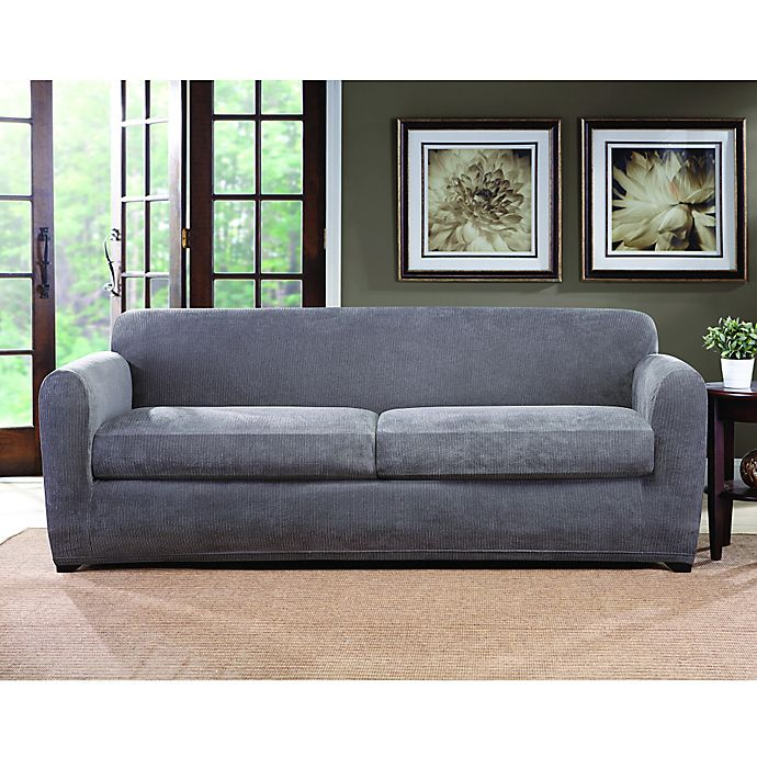 Alternate image 1 for Sure Fit® Ultimate Stretch Chenille 2-Cushion Sofa Slipcover in Grey