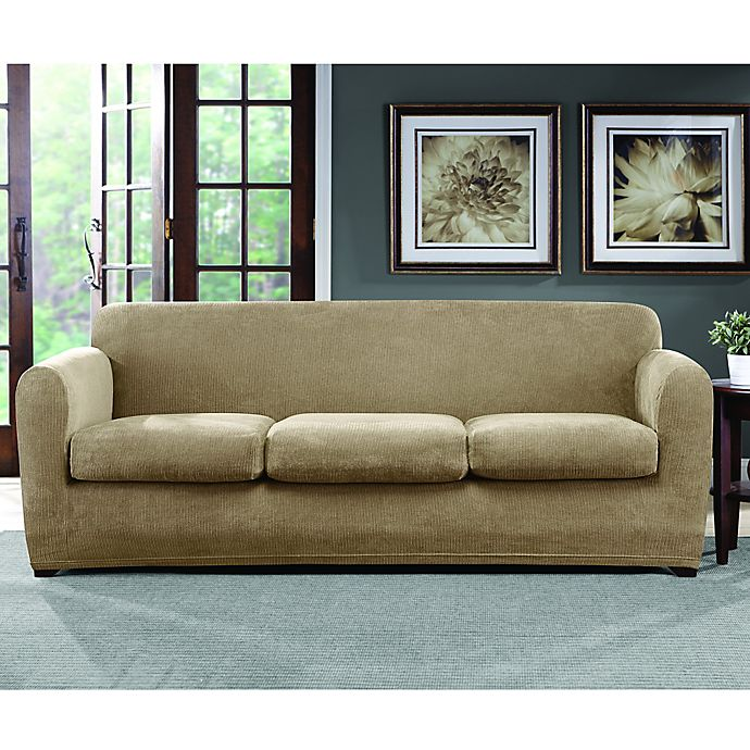 Sure Fit® Ultimate Stretch Chenille 3-Cushion Sofa Slipcover | Bed ...