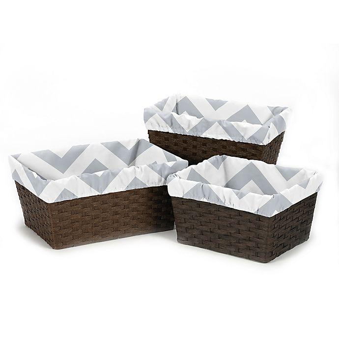 Alternate image 1 for Sweet JoJo Designs Chevron Basket Liners in Grey/White (Set of 3)