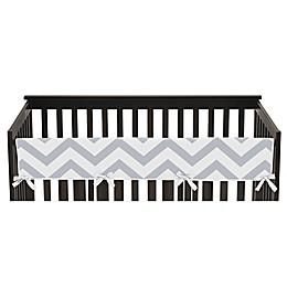 Sweet JoJo Designs Chevron Long Crib Rail Guard Cover in Grey/White