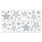 Sweet JoJo Designs Chevron Sticker Wall Decals in Grey/White
