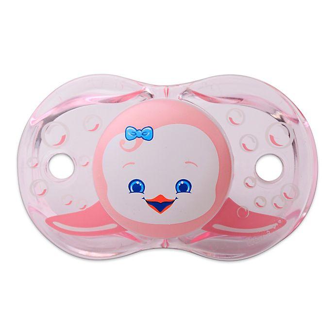 Alternate image 1 for RaZbaby® Keep-It-Kleen® Peguin Pacifier in Pink