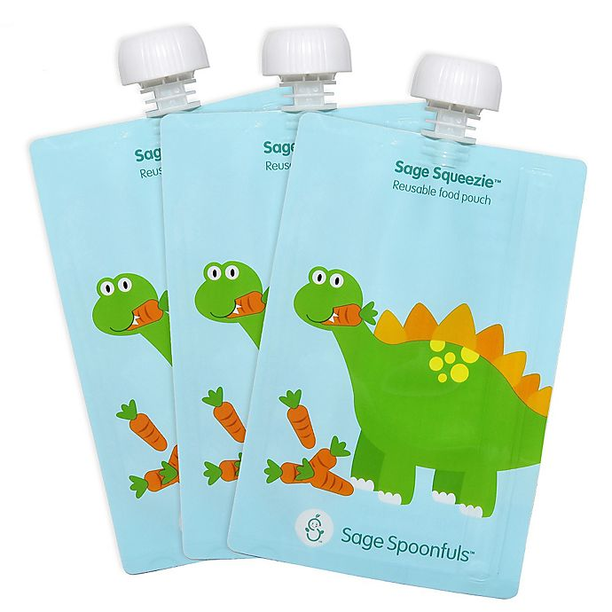Alternate image 1 for Sage Spoonfuls™ Squeezie 3-Pack 7 oz. Dinosaur Reusable Food Pouch