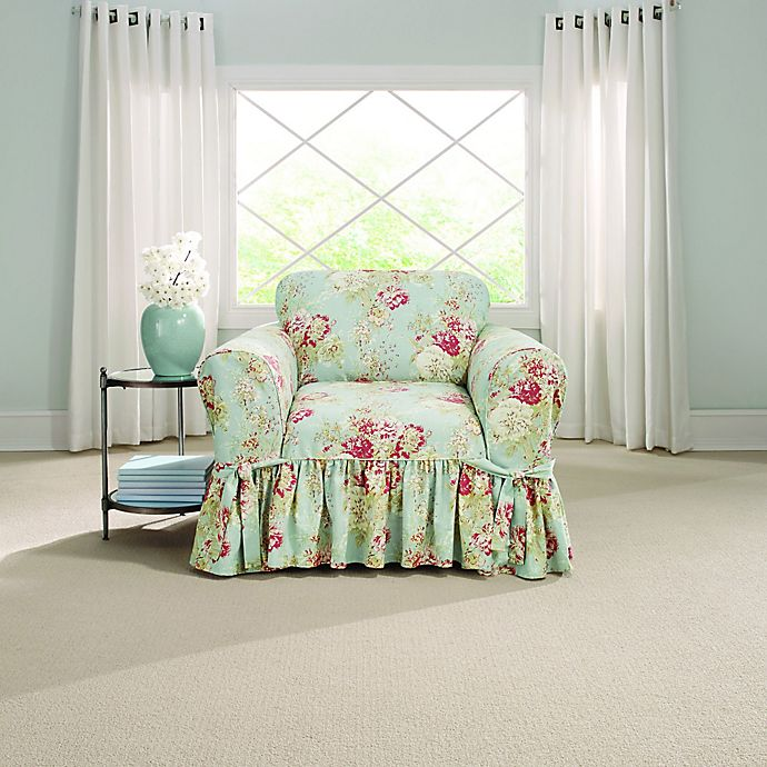 Alternate image 1 for Sure Fit® Ballad Bouquet by Waverly™ Chair Slipcover in Robin's Egg Blue